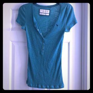 Cute Blue/Green Abercrombie Snap-Front Shirt